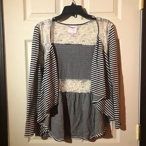 Black And White Striped Lace Cardigan